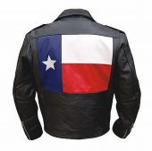 mens leather jacket with texas flag