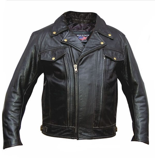 mens black leather motorcycle riding jacket