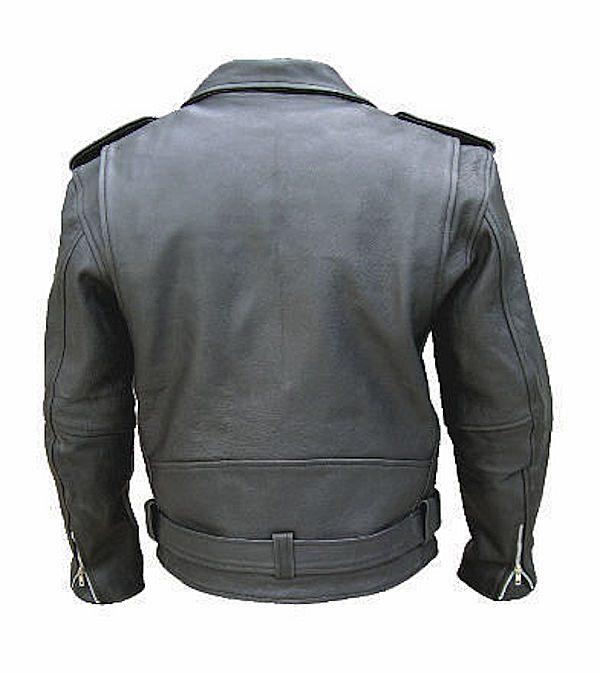 mens naked cowhide leather jacket back