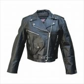 ladies split cowhide leather motorcycle jacket