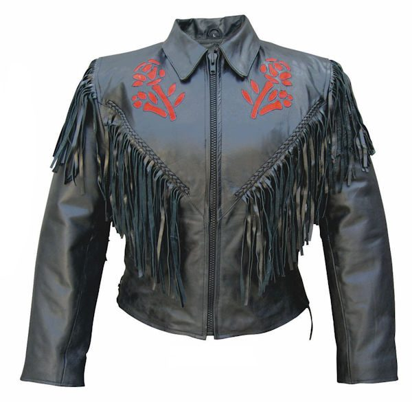 red rose leather jacket