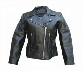 ladies cowhide leather motorcycle jacket