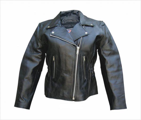 ladies cowhide leather motorcycle jacket