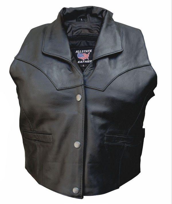 ladies cowhide leather vest