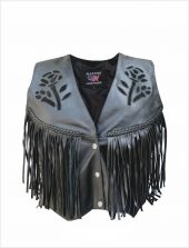 ladies black rose leather vest