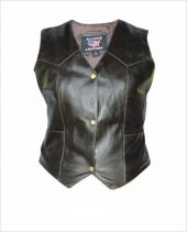 ladies retro brown leather vest