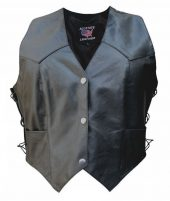 ladies single panel buffalo leather vest