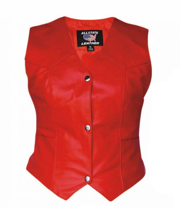 ladies red leather vest