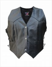womens black leather vest with side laces