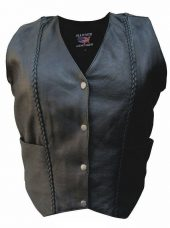 womens leather vest braided