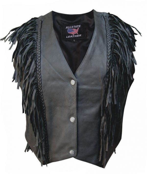 ladies black leather vest with fringe and braid