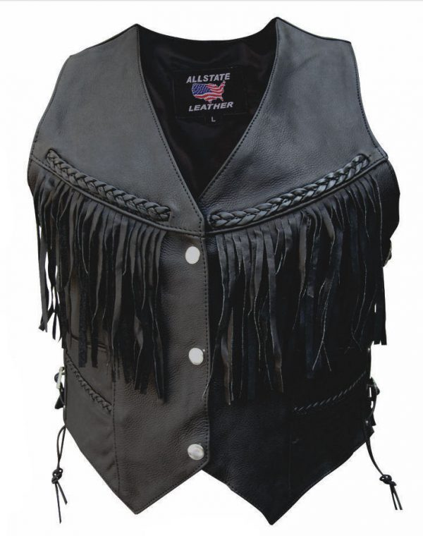 womens leather vest braid and fringe