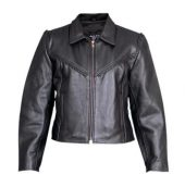 womens cowhide leather jacket with braid