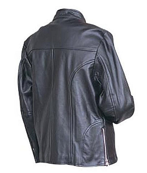 ladies leather scooter jacket back