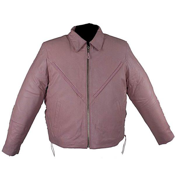 Ladies braided pink leather jacket