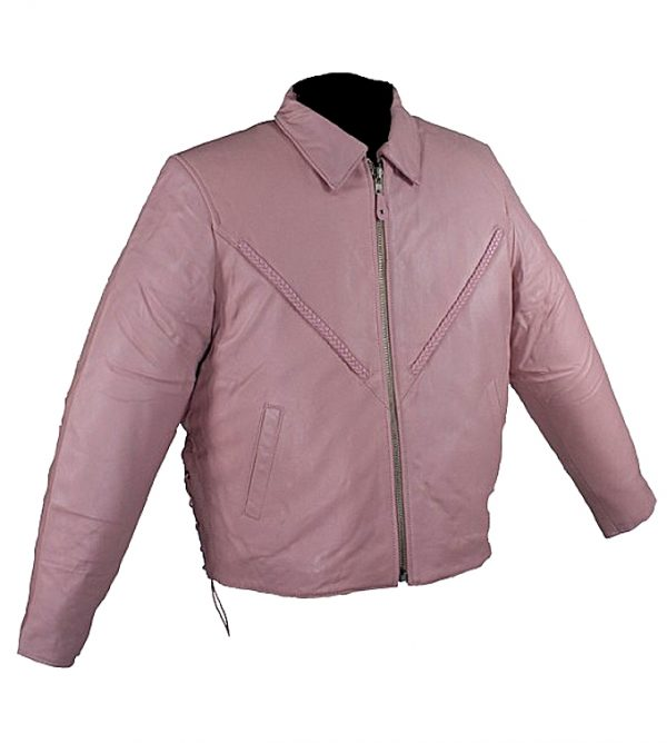 Woman's pink leather jacket