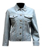 Ladies real leather blue denim look jacket