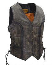 Ladies brown leather vest