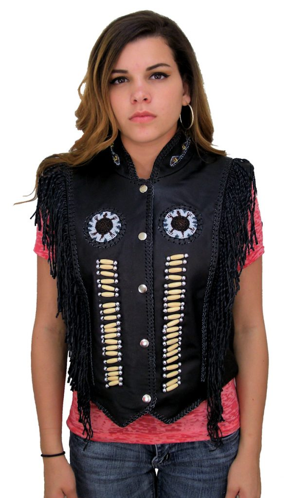 Ladies vest with fringe and beads