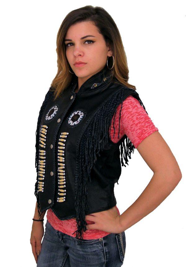 Western style ladies leather vest
