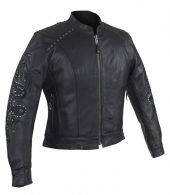 Ladies stud leather jacket