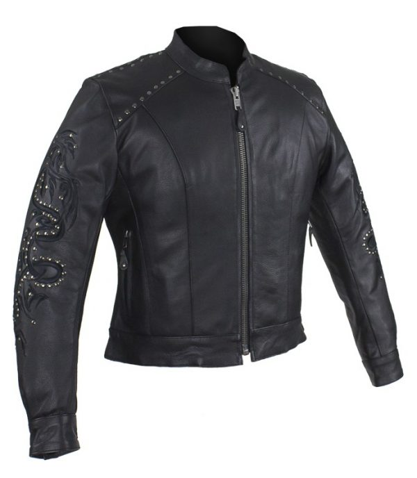 Ladies stud leather jacket