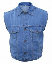 mens blue denim vest
