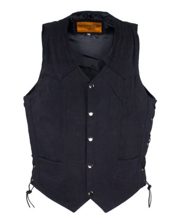 mens black denim vest with side laces