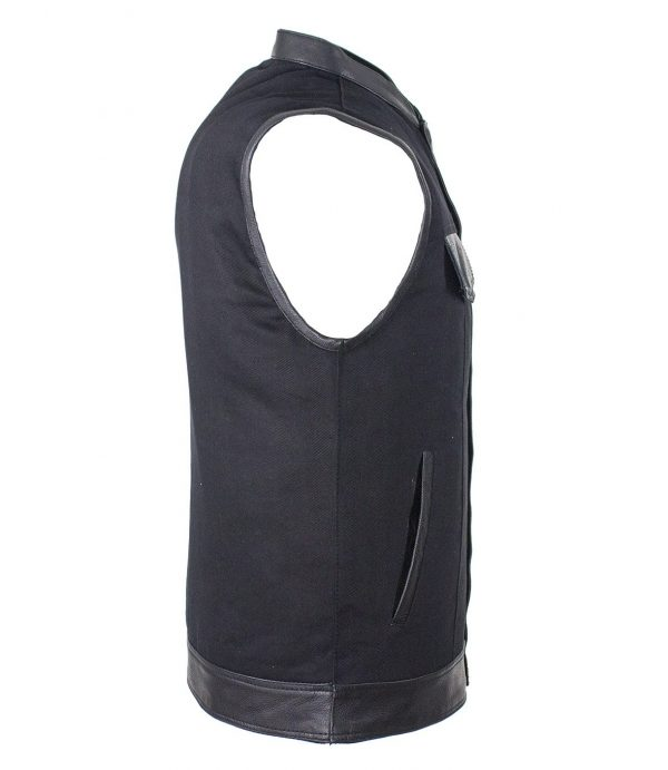 Vest with leather trim