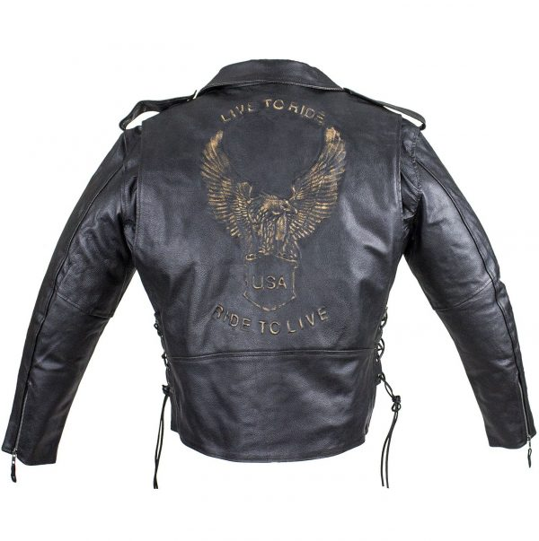 Embossed eagle leather biker jacket