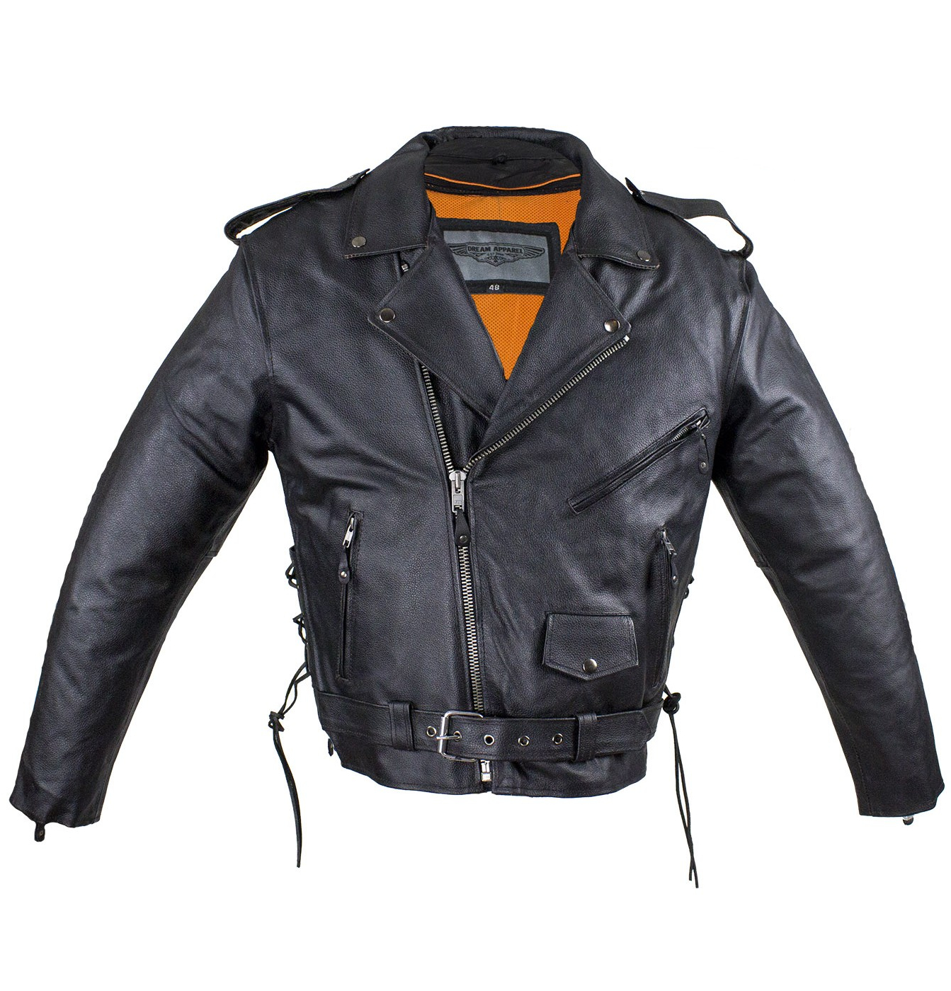 Mens Embossed Eagle Leather Motorcycle Jacket Mlsj24