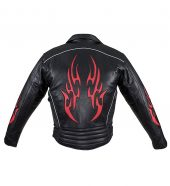 Red flames leather motorcycle jacket