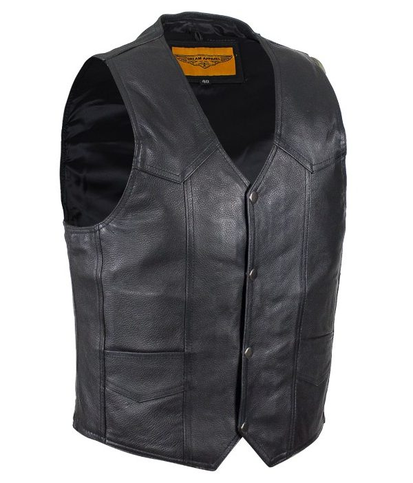 Mens plain leather vest