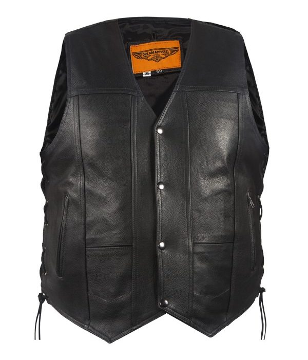 Side lace leather vest