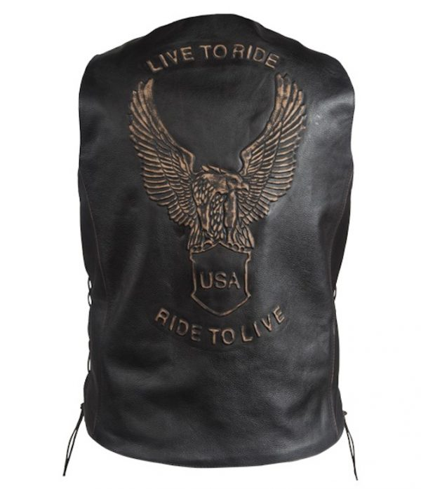 mens embossed eagle leather vest