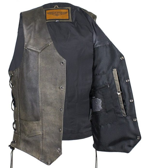 mens leather vest inside
