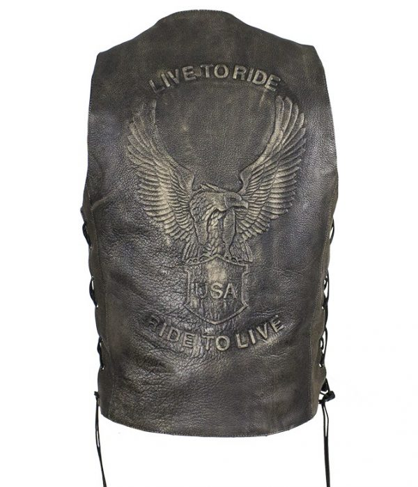 mens embossed eagle leather vest