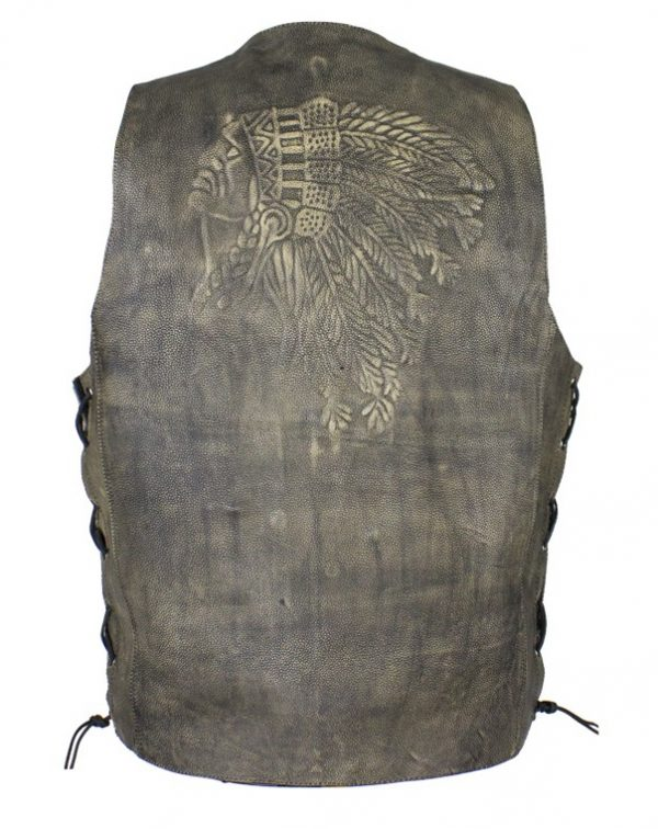 mens native american leather vest