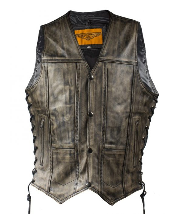 mens distressed brown leather vest