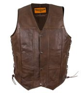 mens brown leather vest