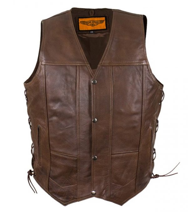 mens brown leather vest