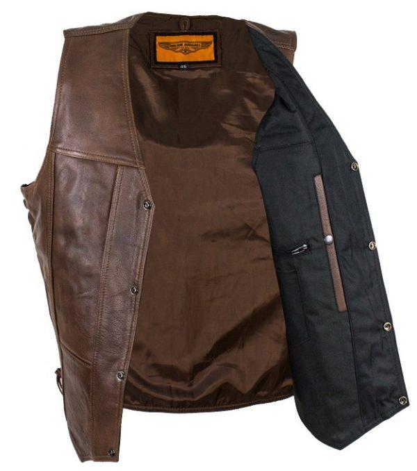 mens brown leather vest inside