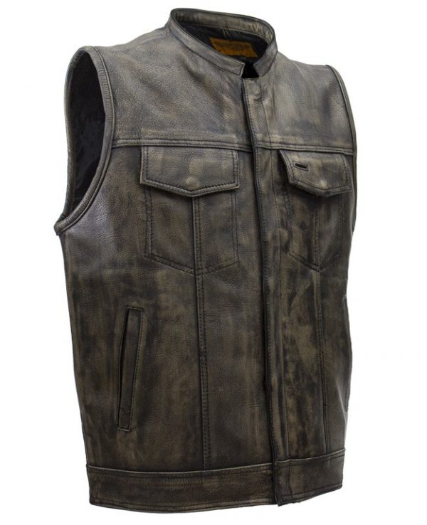 mens leather vest zipper