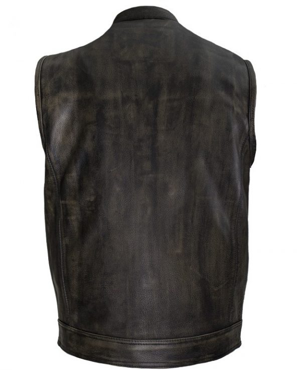 mens distressed brown leather vest back
