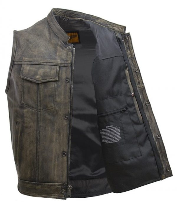 mens brown leather vest with zipper