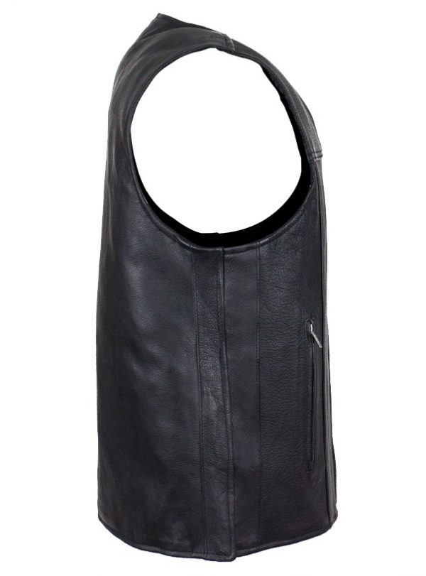 mens leather vest side