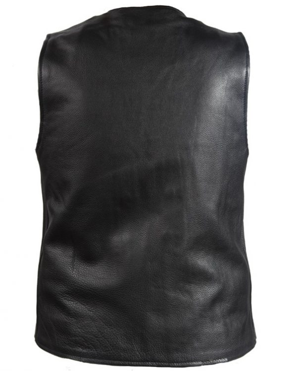 mens naked cowhide leather vest back