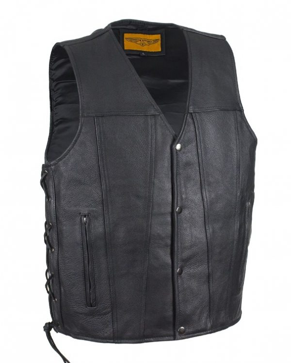 mens cowhide leather vest side laces