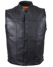 mens leather vest front