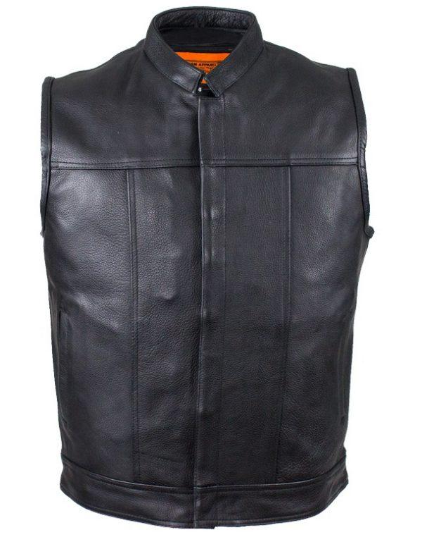 mens leather vest front